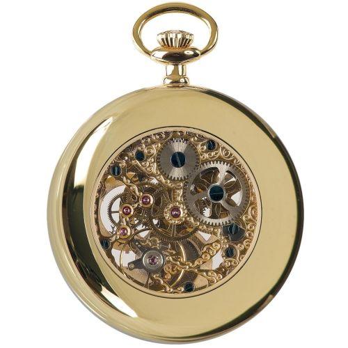 Gold Tone Open Face Mechanical Pocket Watch