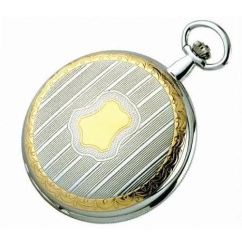 Chrome/gold Plated Swiss Quartz Full Hunter Pocket Watch