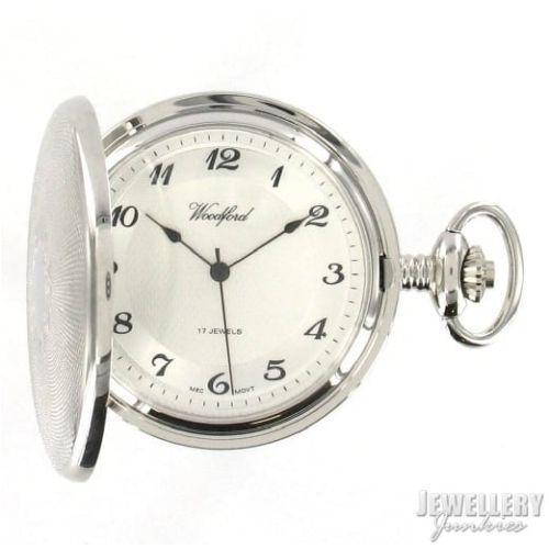 17 Jewelled Mechanical Chrome Plated Full Hunter Pocket Watch