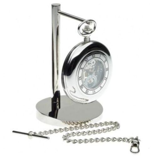 Half Hunter Mechanical Pocket Watch Stand & Pouch