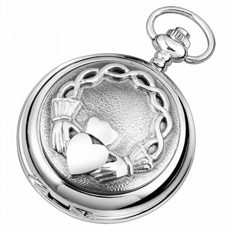 Claddagh Double Hunter Chrome/Pewter Mechanical Pocket Watch