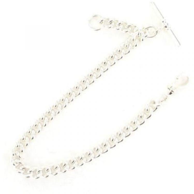 Sterling Silver 9 Inch Single Albert Pocket Watch Chain