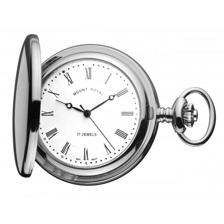 Chrome Polished 17 Jewel Mechanical Full Hunter Pocket Watch With Roman Indexes