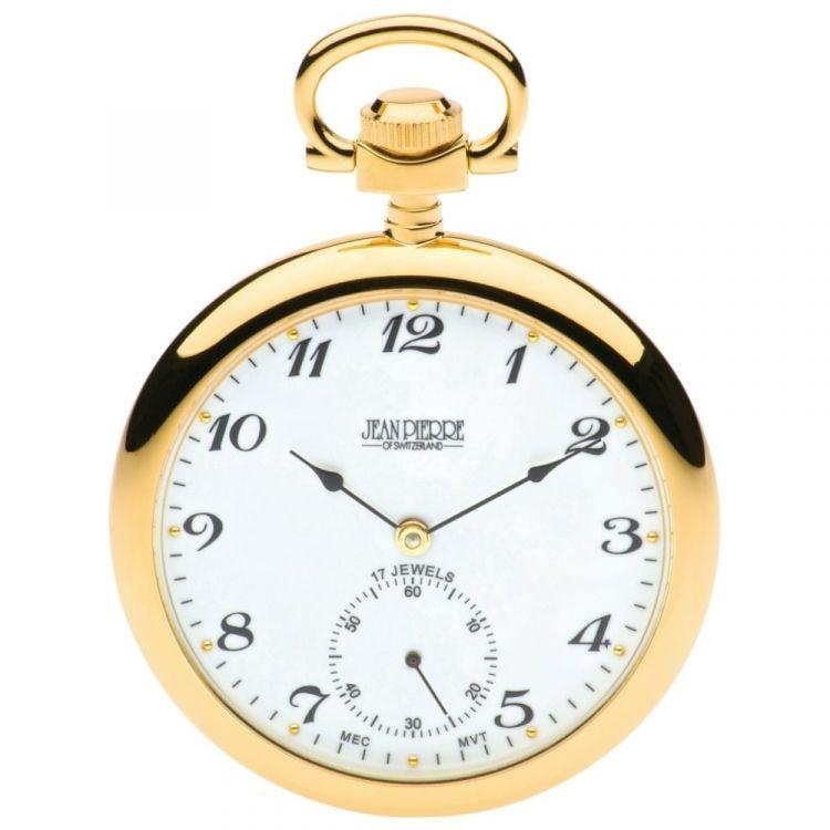 Open Face Gold Toned Mechanical Pocket Watch