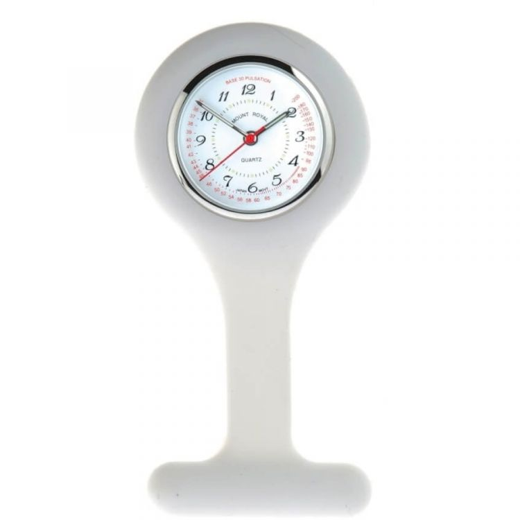 White Rubber And Stainless Steel Fob Watch