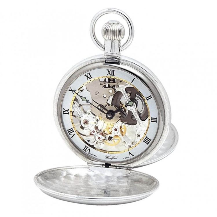 Swiss Movement Sterling Silver Double Hunter Mechanical Pocket Watch Without Chain