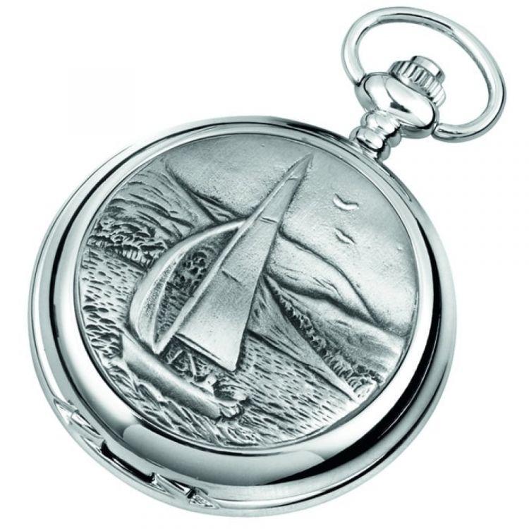 Chrome Double Hunter Sailing Scene Mechanical Pocket Watch