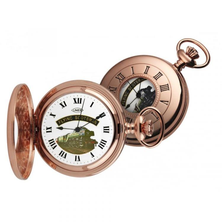 Rose Gold Plated Flying Scotsman Half Hunter Pocket Watch