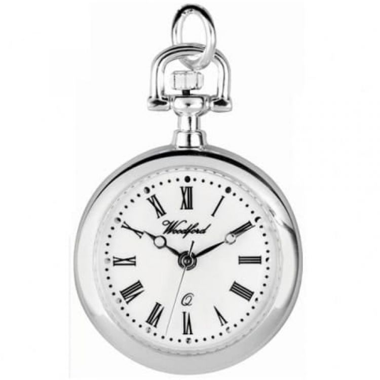 Silver Plated Open Face Quartz Pendant Necklace Watch