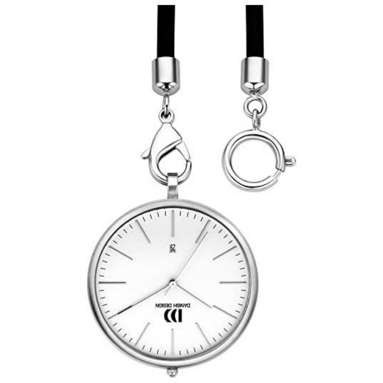 White Face Chrome Plated Pocket Watch with Rubber Strap