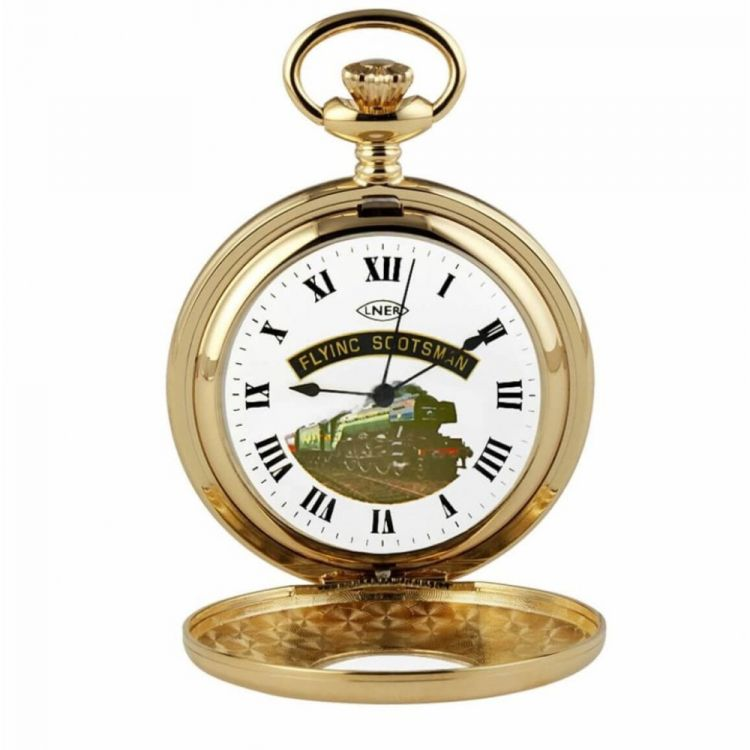 Gold Plated Flying Scotsman Half Hunter Pocket Watch