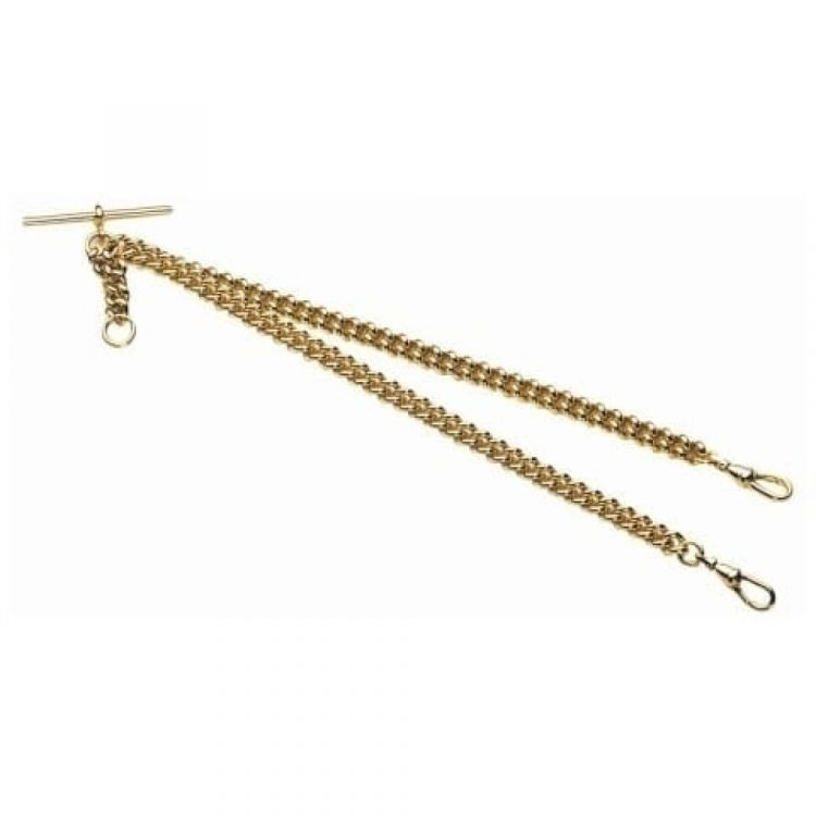 Gold Plated 16 Inch Double Albert T-Bar Pocket Watch Chain