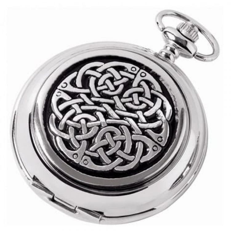 Double Hunter Celtic Knot Chrome/Pewter Mechanical Pocket Watch
