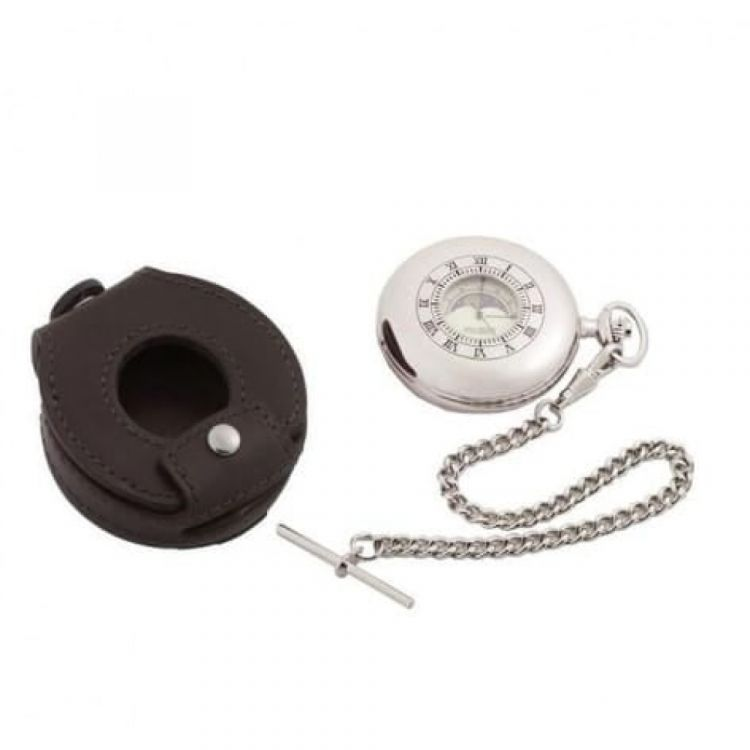 Moon Dial Half Double Hunter Two Tone Quartz Pocket Watch With Pouch