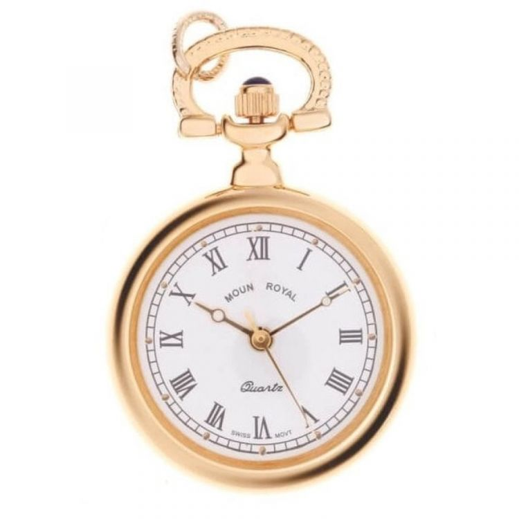 Gold Tone Open Faced Quartz Pendant Necklace Watch With Roman Indexes