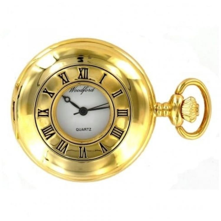 Gold Plated Half Hunter Quartz Pocket Watch