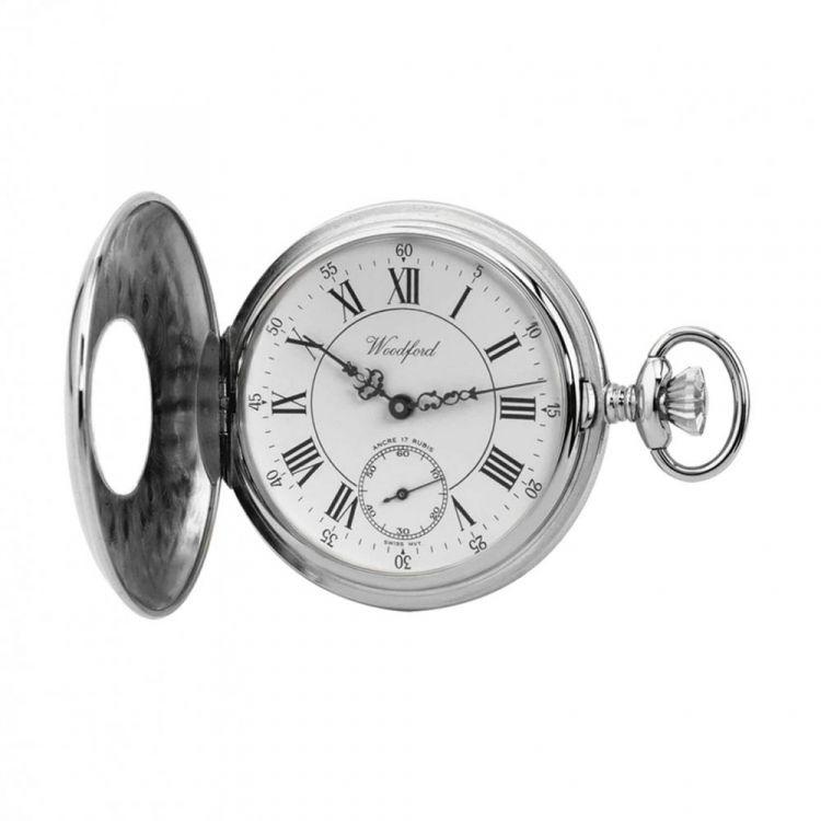 Chrome Plated Mechanical Half Hunter Pocket Watch 1011