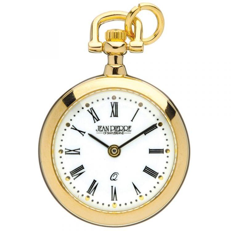 Gold Toned Open Face Quartz Pendant Watch With Roman Numerals