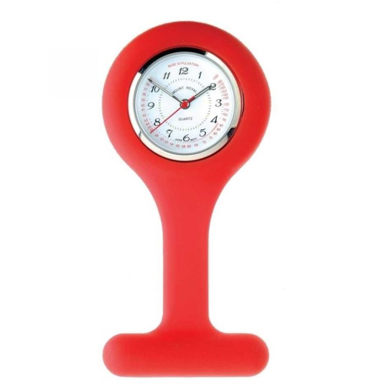 Red Rubber And Stainless Steel Fob Watch