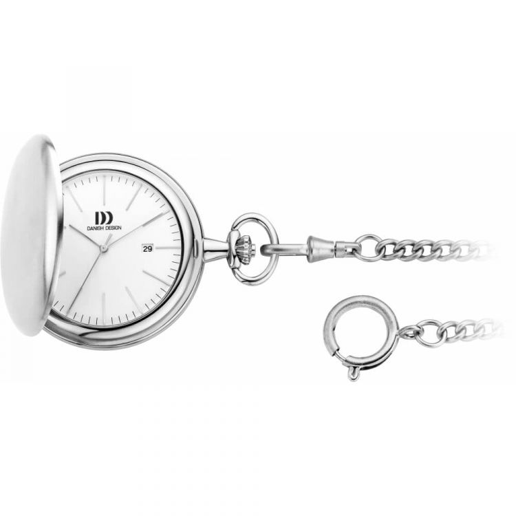 Brushed Chrome Full Hunter Pocket Watch And Chain with White Face