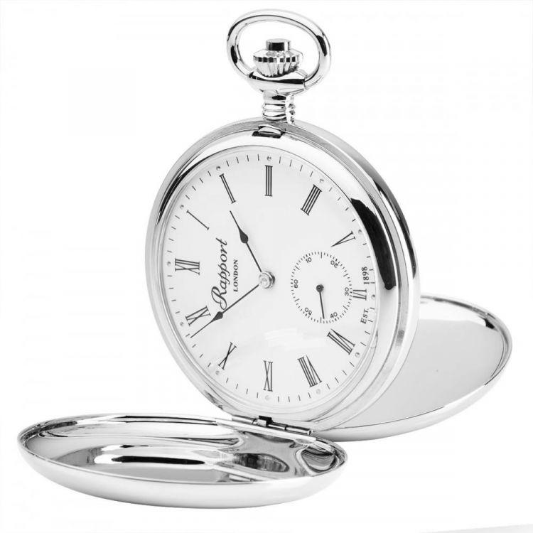 17 Jewel Mechanical Double Hunter Skeleton Back Silver Pocket Watch
