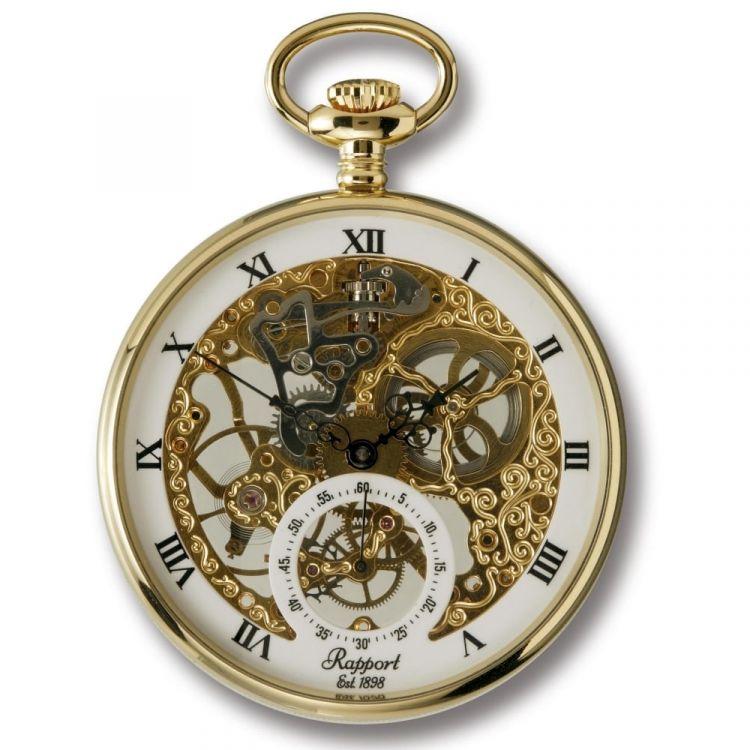 Gold Tone Mechanical Open Face Grand Skeleton Pocket Watch