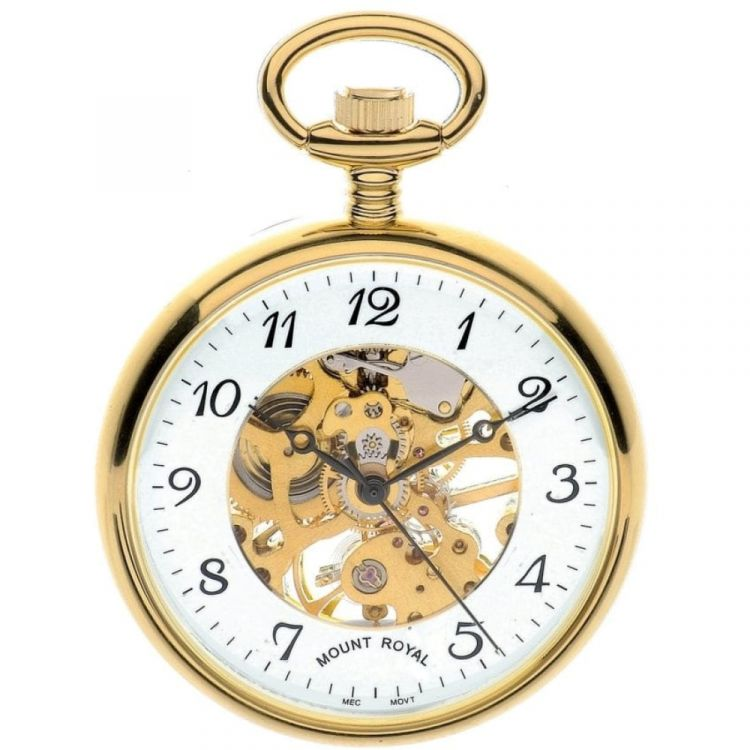 Gold Tone Swiss Mechanical Open Face Skeleton Pocket Watch with Arabic Indexes
