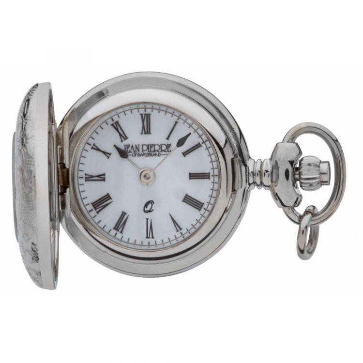 Polished Chrome Half Hunter Pendant Necklace Watch