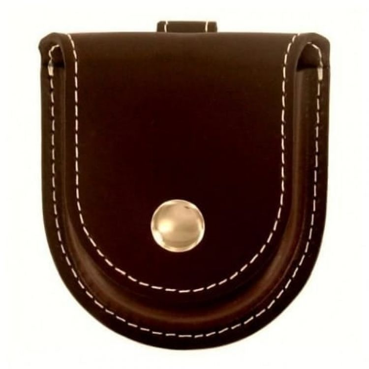 Gents Brown Leatherette Pocket Watch Pouch & Gold Coloured Button