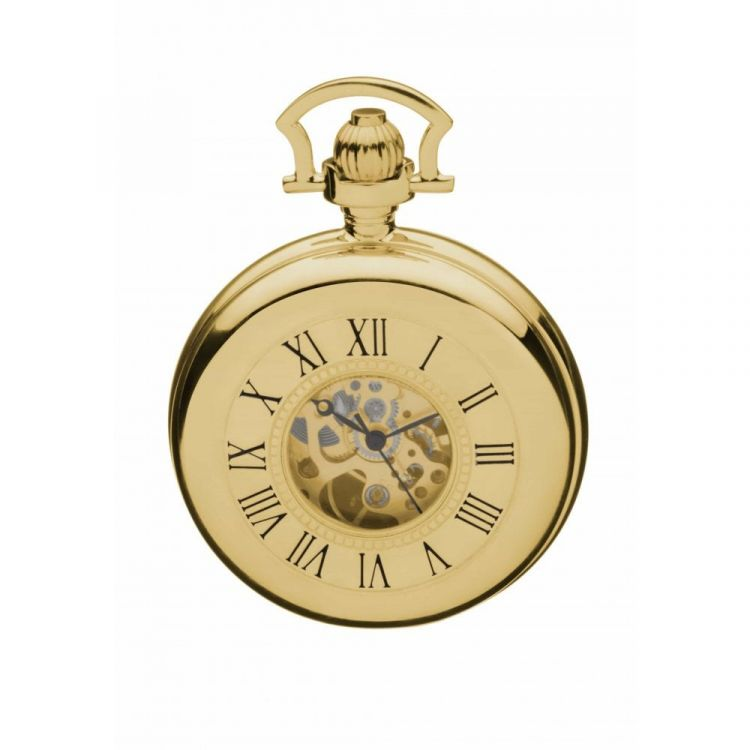 Gold Plated Mechanical Double Half Hunter Masonic Pocket Watch