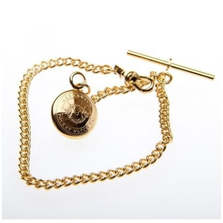 9 Inch Gold Plated Pocket Watch Chain With Charm