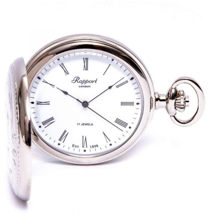 Chrome Plated Mechanical Hunter Pocket Watch with Skeleton Back