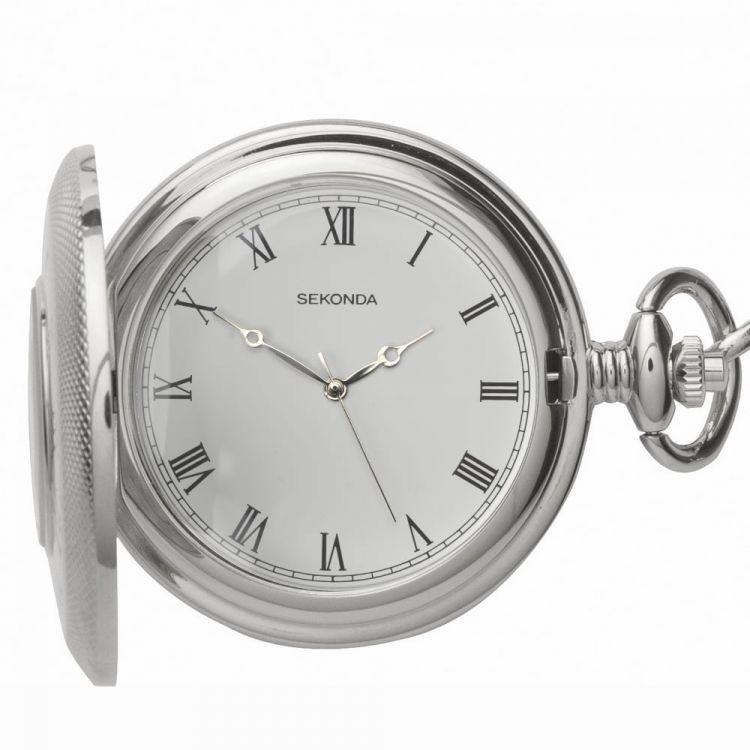 Half Hunter Stainless Steel Quartz Pocket Watch