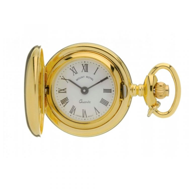 Gold Tone Full Hunter Quartz Pendant Necklace Watch With Roman Indexes