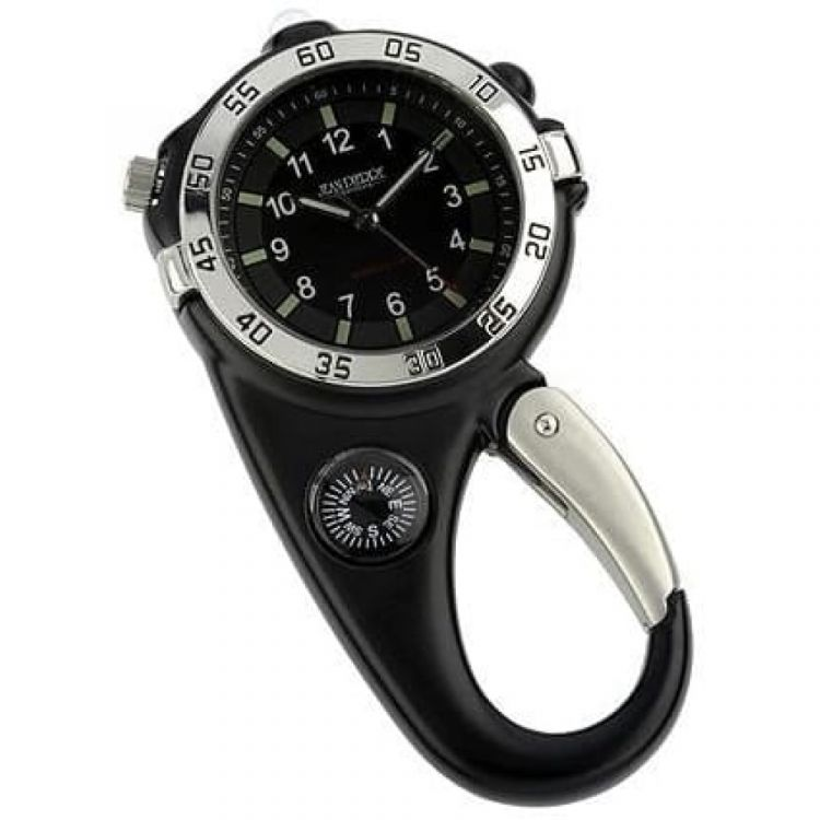 Carabiner Stainless Steel Black Compass Clip Watch