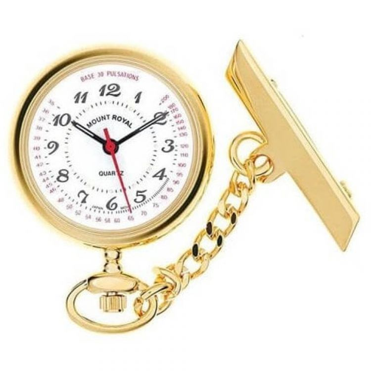 Gold Tone Open Face Quartz Fob Watch