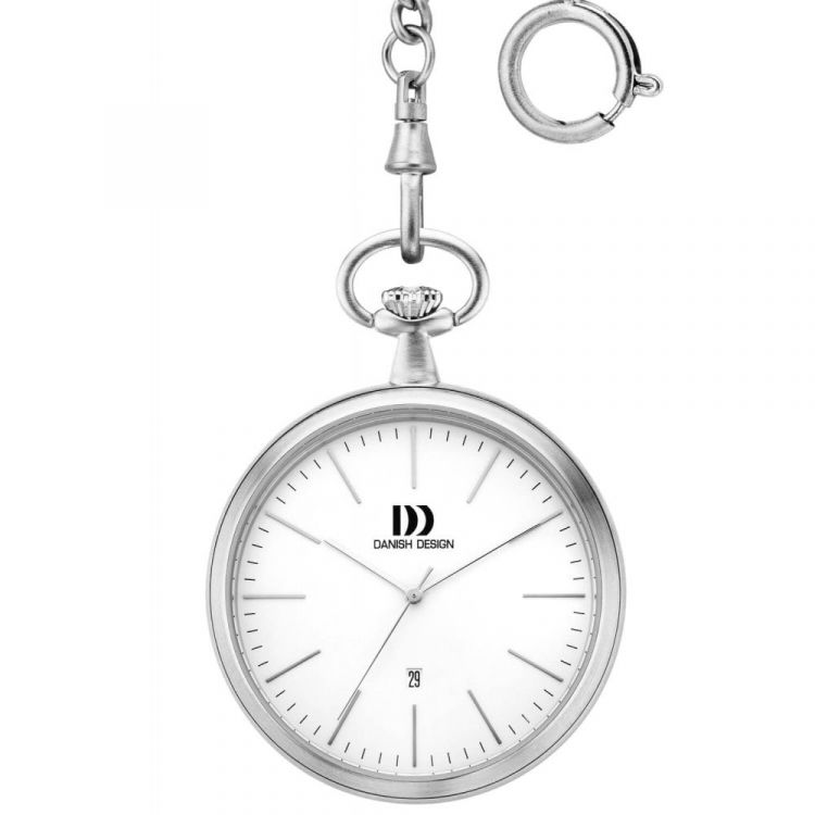 White Face Chrome Plated Pocket Watch with Chain