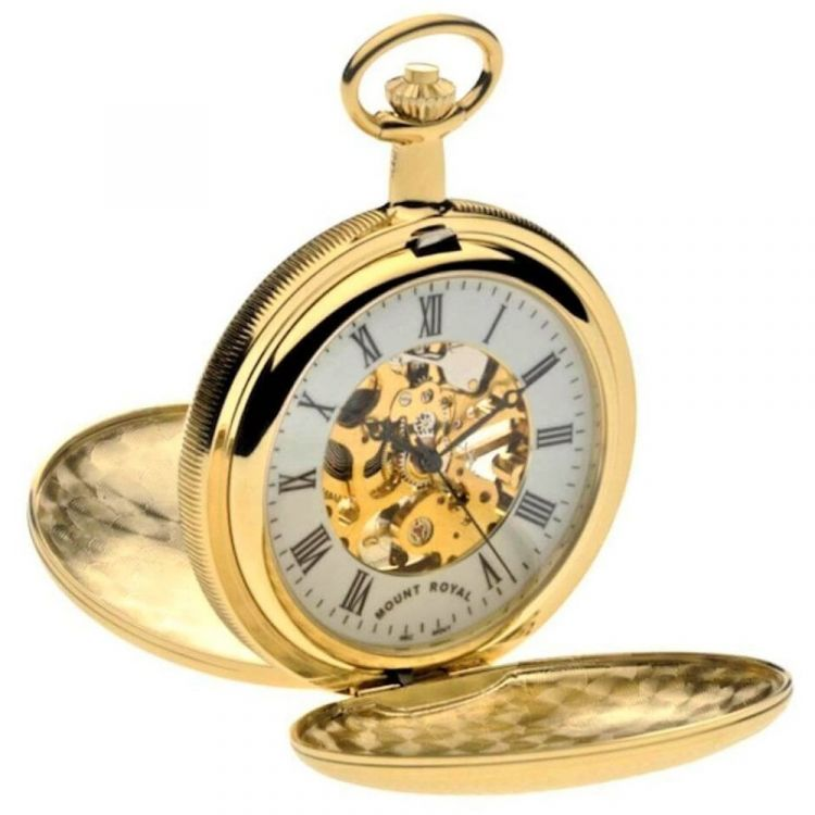 Gold Tone Mechanical Double Hunter Pocket Watch With Roman Indexes