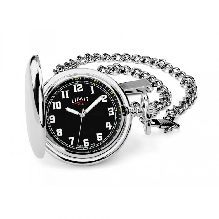 Full Hunter Silver Tone Quartz Pocket Watch