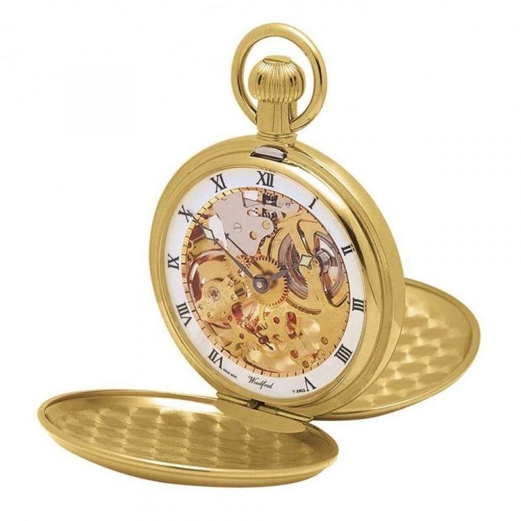 Gold Plated 17 Jewel Swiss Mechanical Double Hunter Pocket Watch 1014