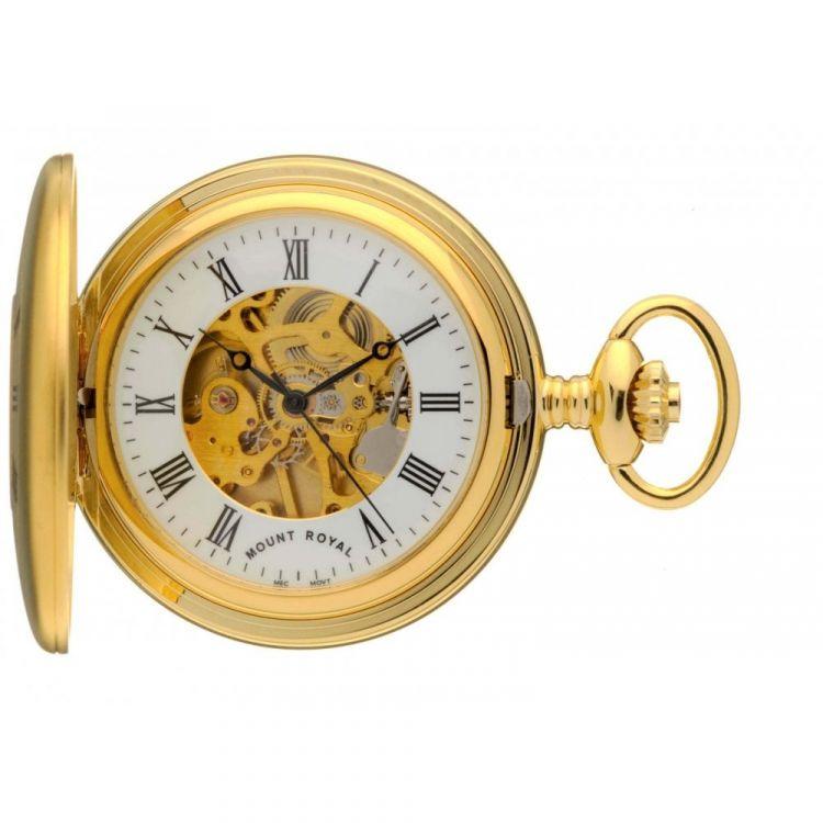 Matt Finish Gold Tone Mechanical Half Hunter Pocket Watch With Roman Indexes