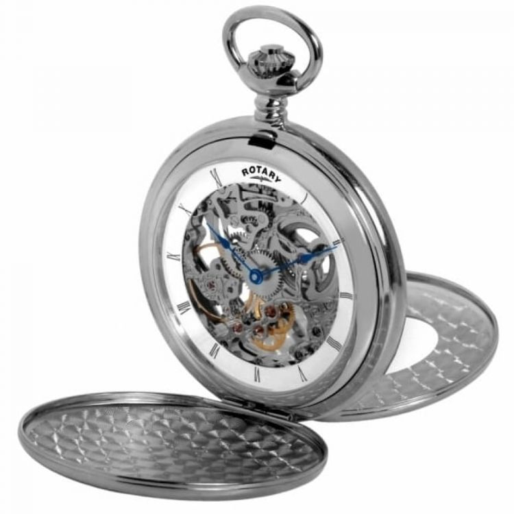 Chrome Double Hunter Open Back Mechanical Pocket Watch
