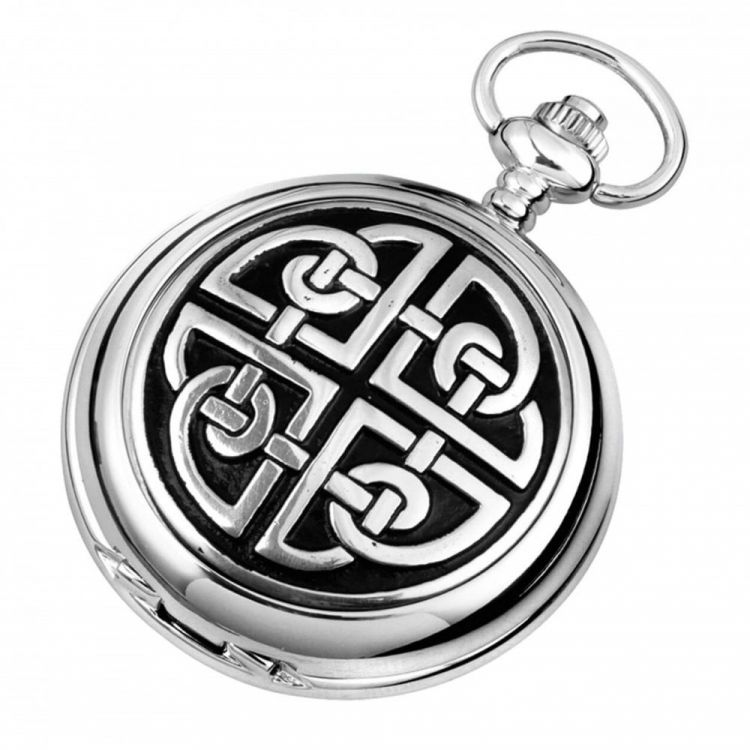 Celtic Knot Work Chrome Pewter Mechanical Double Hunter Pocket Watch