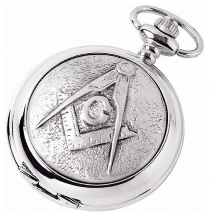 Masonic 'G' Full Hunter Chrome/Pewter Quartz Pocket Watch