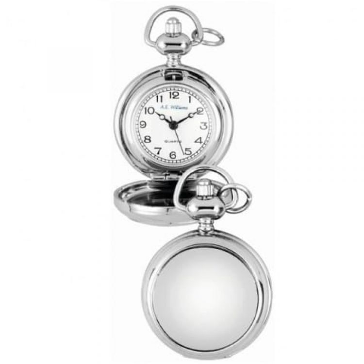 Chrome Full Hunter Pendant Necklace Watch