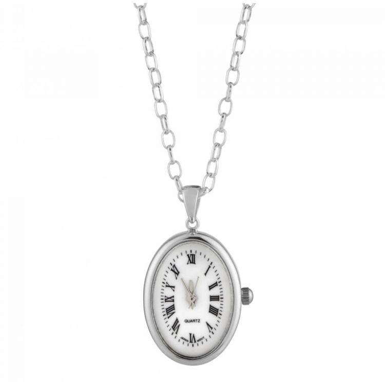 Chrome Oval Quartz Pendant Necklace Watch