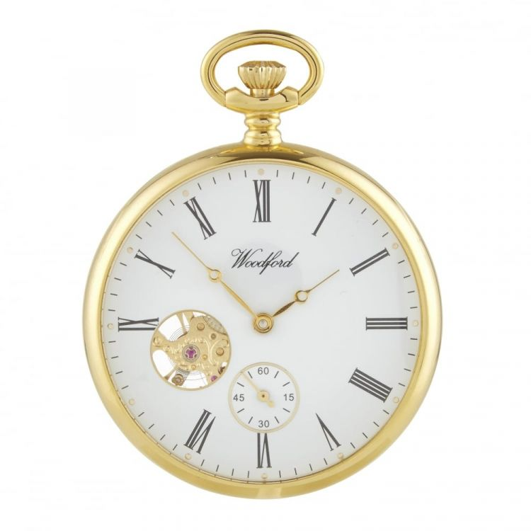 Gold Plated Open Face Heartbeat Skeleton Pocket Watch