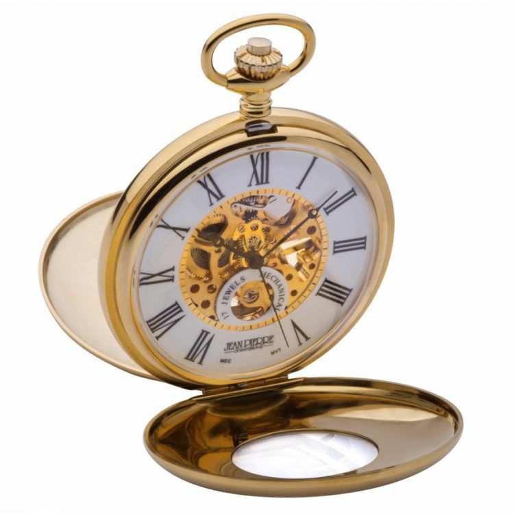 Gold Plated Mechanical Double Half Hunter Pocket Watch With Heartbeat Window