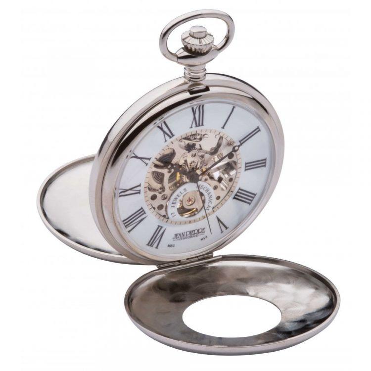 Polished Chrome Mechanical Double Half Hunter Pocket Watch With Heartbeat Window