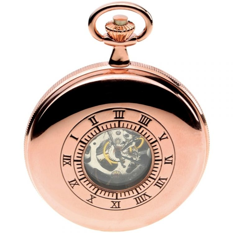 Rose Gold Toned Double Half Hunter Mechanical Pocket Watch